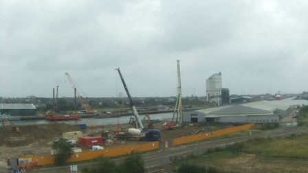 The Gull Wing construction site from the south side of Lake Lothing in Lowestoft.
