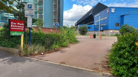 Land off Russell Road in Ipswich where permission has been granted for a new Travelodge hotel