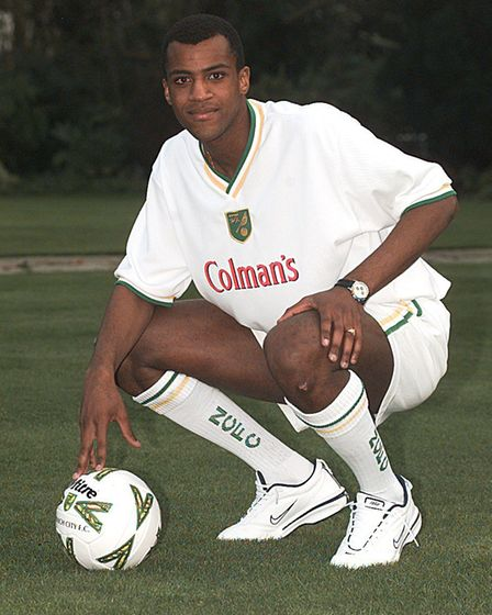 New Norwich City signing Fernando Dervald sports the new away kit design that was launched at Colman