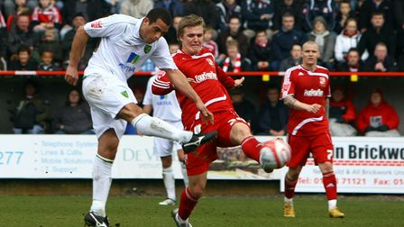 Swindon - Saturday March 20th, 2010: Darel Russell of Norwich has a shot on goal during the Coca Col