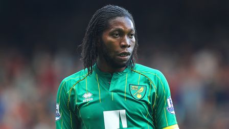Dieumerci Mbokani of Norwich during the Barclays Premier League match at the Boleyn Ground, London