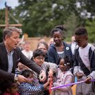 TV Presenter Ben Shepard opens a new playground with children from Haven House Children's Hospice