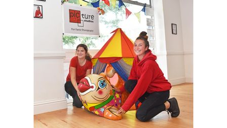 Louise and Emily at Picture Studios supporting the Freddie the Fish trail in Lowestoft.