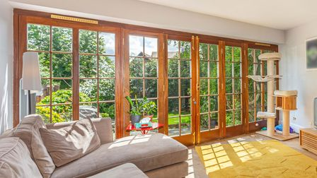 French doors lead out to the garden.
