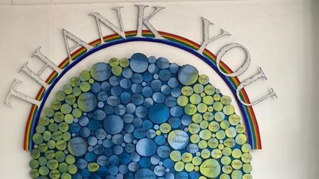 A piece of art made from recycled pieces to thank all the people that donated to Lucy Storey's crowdfunder.