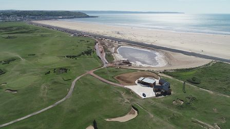 A panoramic view of Westward Ho! Beach and the new visitors centre