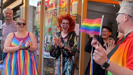 Opening of the Something Queer About This Art exhibition on St Augustines Street, for the 2021 Norwich Pride event.