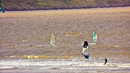 Windsurfers back out in the bay.