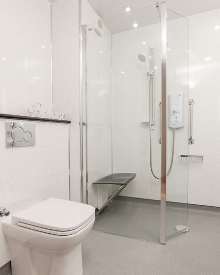 A wet room designed by Hitchin Showroom.