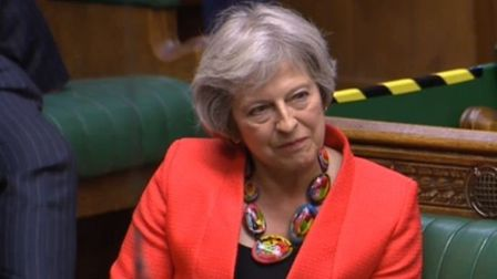 Theresa May appears on the backbenches to question the government over coronavirus and Brexit. Photo