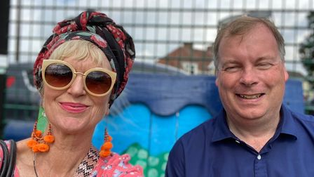 Chair and vice chair, Tom Sanderson and Hilary Condron, on their visit to Wisbech