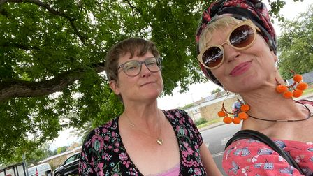 Cllr Condron and Wendy Lansdown discuss volunteering on her visit to the Fens