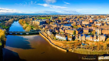 Aerial view of Chester, a city in northwest England, known for its extensive Roman walls made of lo