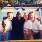 Ainsley Harriot with the Fishcombe Cove Cafe team