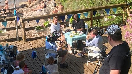 Ainsley Harriot filming his TV show at the Fishcombe Cove Cafe