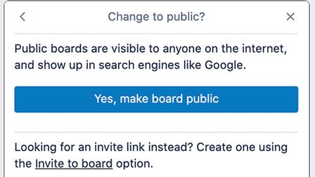 Attempting to make a Trello board public triggers a warning.