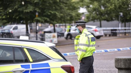 An area of Cardinal Park in Ipswich remains cordoned off as police investigate the scene of a stabbi