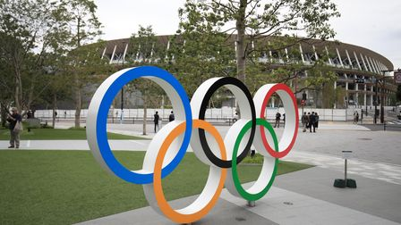 A general view of Olympic Rings outside The Olympic Stadium in Tokyo, Japan.