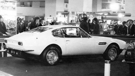 TheAston Marti DBS V8 1973 model at the Earls Court Motor Show in 1972.