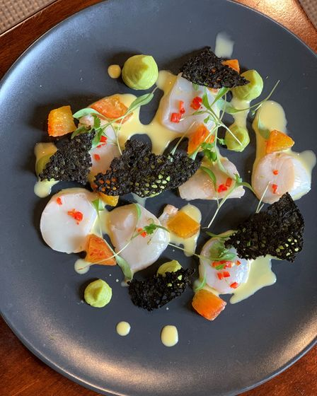 Ceviche of scallops with avocado puree and squid ink wafer