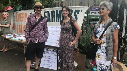 Hackney Make Votes Matter supporters at a campaign stall before the Covid pandemic.
