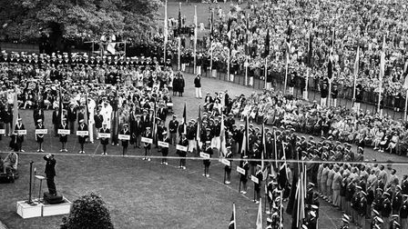 The opening ceremony crowd on Torre Abbey Meadows - the largest crowd ever seen in Torbay.