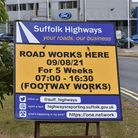 The footway works signage ahead of work starting on Whapload Road in Lowestoft.