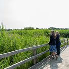 Hannah Cooper enjoyed a guided tour with Louise Gregory to officially open the Carlton Marshes boardwalk.