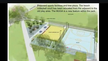 The play area plans for Shoreditch Park show sports facilities, a tree plaza and a beach volleyball court.
