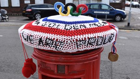 Thecolourful red, white and blue arrangement on the post box in Norwich Road, Lowestoft.