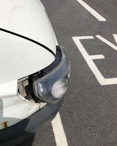 A vehicle with a loose headlamp found during DVSA operations.
