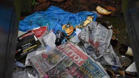 Rubbish left on Cherry Close in Lakenham which is attracting rats. Picture: Danielle Booden