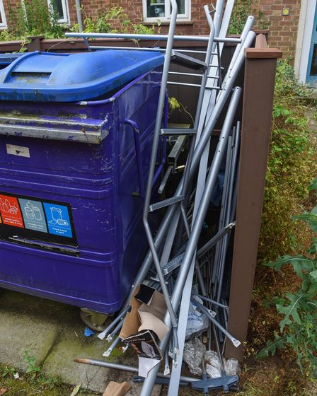 Fly-tipping and rubbish left on Cherry Close in Lakenham which is attracting rats. Picture: Danielle