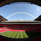 A view of the pitch at Wembley Stadium.