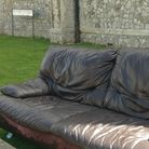 This is the couch dumped at Burlington Road in Ipswich