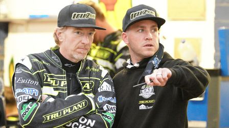 Jason Crump and Team manager Ritchie Hawkins.
