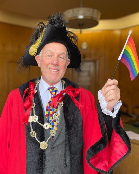 Lord Mayor of Norwich Kevin Maguire showing his support for Norwich Pride.