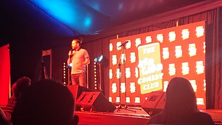 Headliner Geoff Norcott at Laugh in the Park in Norwich.