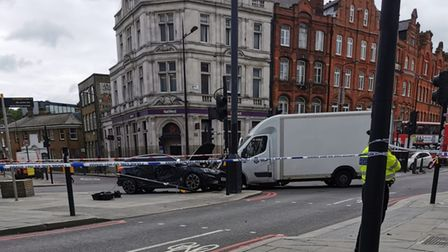 The scene of a crash in Camden Town