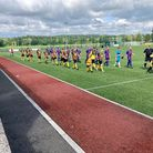Keynsham Town and Ashton & Backwell players before the first game of the 2021-22 season