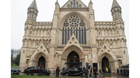 Behind the scenes of filming The Crown at St Albans Cathedral.