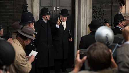 John Lithgow as Winston Churchill in the first season of The Crown outside No 10 Downing Street.
