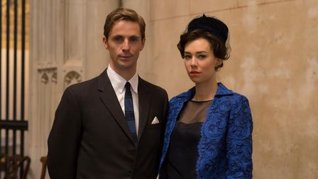 Tony Armstrong-Jones (Matthew Goode) and Princess Margaret (Vanessa Kirby) at Edward's baptism in The Crown