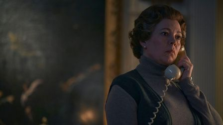 Olivia Colman pictured asQueen Elizabeth II during filming atKnebworth House.