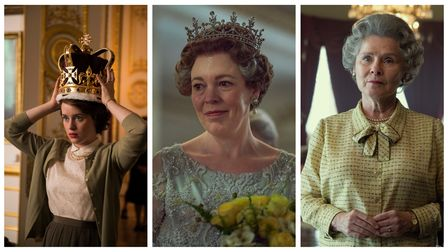Claire Foy,Olivia Colman and Imelda Staunton as Elizabeth in The Crown