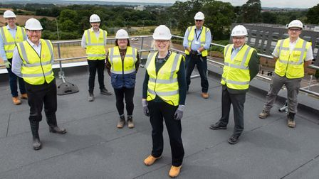 © Rekord Media. 'Topping out' ceremony of the Grow-Out Space at Exeter Science Park. L-R Mike Pearce
