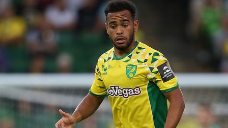 Louis Thompson of Norwich in action during the Carabao Cup match at Carrow Road, Norwich Picture by