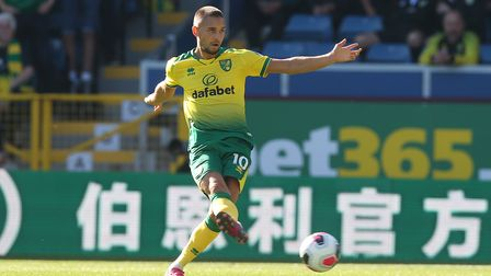 Moritz Leitner of Norwich in action during the Premier League match at Turf Moor, Burnley Picture b