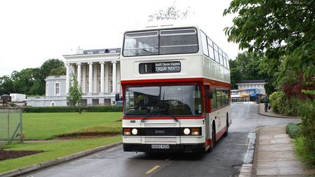 Days gone by... an old Leyland leaves Oldway Mansion during aride around Torbay.