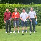 Weston's Paul Burns and John Davidson with their opponents at the Glamorganshire